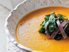 Once you've got the squash baked, this soup comes together quickly The mellow flavors of squash, kale and red onions synergize delectably and look gorgeous together as well.