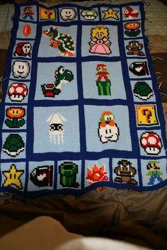 Crocheted mario blanket
