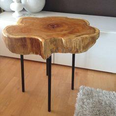 Stump End Table - Cedar Wood Stump table with metal legs. www.serenitystumps.com