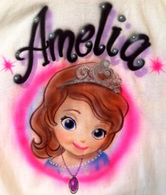 Personalized+Sofia+the+First+Kids+Airbrushed+Tshirt+by+MpressArt,+$12.00