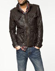 Zara Leather Three Quarter Length Coat
