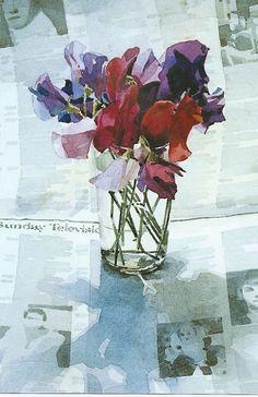 ronald jesty sweetpea - Google Search Watercolor Artists, Watercolor Flowers, Watercolor Paintings, Flower Paintings, Watercolours, Calla Lily, Love Flowers, Trees To Plant, Flower Art