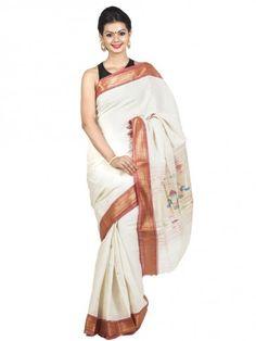Offwhite Handloom Cotton #Paithani Saree.  #paithanisaree #ethnicsaree #handloomsaree #traditionalsaree