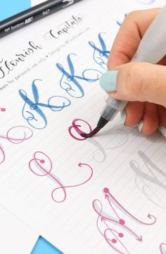 Big Brush Marker Flourish Capital Letters Alphabet Modern Calligraphy Lettering Printable Practice Sheets – Finance tips, saving money, budgeting planner Creative Lettering, Lettering Styles, Brush Lettering, Hand Lettering Practice, Calligraphy Practice, Calligraphy Handwriting, Calligraphy Art, Capital Letters Calligraphy, Modern Calligraphy Alphabet