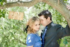 Engraved Rustic Old Barn Wood Personalized Wedding Engagement Photo Prop Sign. $29.99, via Etsy.