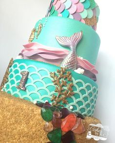 Mermaid inspired cake made for Annabelle's birthday celebration Little Mermaid Cakes, Mermaid Birthday Cakes, Little Mermaid Birthday, Little Mermaid Parties, Girl Birthday, Birthday Ideas, Sirenita Cake, Ariel Cake, Beach Cakes
