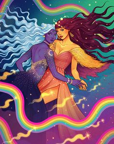♥ Star Loves Moon ♥ Artwork by Jen Bartel ( Dope Kunst, Creation Art, Psy Art, Lesbian Art, Goddess Art, Witch Art, Hippie Art, Dope Art, Psychedelic Art