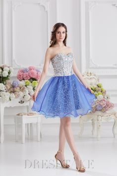 Sexy A-line Short / Mini Sweetheart Zip-up Organza Blue Cocktail Dresses, US$73.99