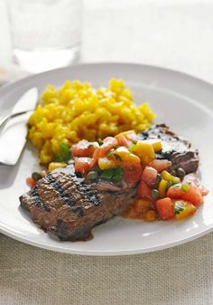 Grilled Skirt Steak with Fruit Salsa – All the yummy flavors and colors of spring get combined in this easy dinnertime dish. Plus, we think topping juicy steak with a mixture of watermelon, peaches, cilantro, and balsamic dressing is unique and genius!