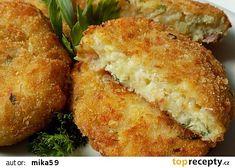 Sýrové karbanátky s uzenou vůní recept - TopRecepty.cz Cornbread, Baked Potato, Potatoes, Baking, Ethnic Recipes, Millet Bread, Potato, Bakken, Backen