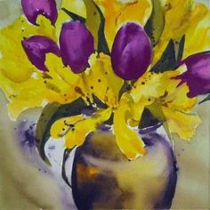 yellow and purple flowers Yellow Tulips, Yellow Art, Pastel Yellow, Mellow Yellow, Shades Of Purple, Purple Gold, Green And Purple, Yellow Cottage, Bridal Shower Centerpieces