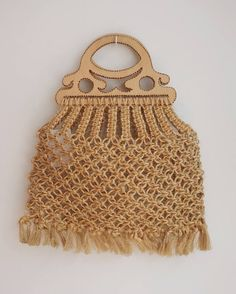 Vintage leather raffia jute macrame beach hippie boho bag