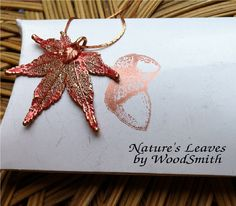 Japanese maple leaf, 24K gold with rose gold patina, Natures leaves by Woodsmith. $12.95, via Etsy.