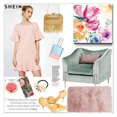 """""""Shein.Frill Trim Drop Hem Dress"""" by natalyapril1976 ❤ liked on Polyvore featuring Inge Christopher and Steiger"""