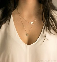 Delicate Bird Necklace Set with Small Disk by LayeredAndLong