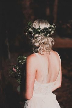 aspyn ovard bridals wedding hair with greenery decor