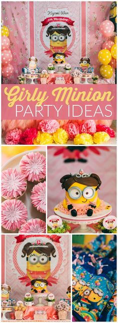You have to see this girly Minion birthday party! So fun! See more party ideas at CatchMyParty.com!