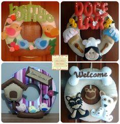 Guirlandas de porta personalizadas, produzida em feltro e tecido. Contato: Rita (51) 98939-6174