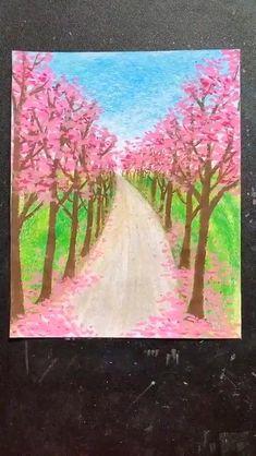 Art Drawings Beautiful, Art Drawings For Kids, Art Drawings Sketches Simple, Easy Drawings, Oil Pastel Drawings Easy, Oil Pastel Paintings, Crayon Pastel Sec, Crayon Painting, Crayon Drawings