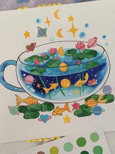 Art Drawings Beautiful, Cool Drawings, Gouache, Sketchbook Tour, Creative Art, Creative Ideas, Cute Animal Drawings, Watercolour Tutorials, Aesthetic Art