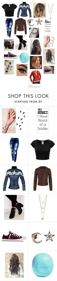 """""""I'm My Own Soldier"""" by juliadonda ❤ liked on Polyvore featuring Casetify, Miss Selfridge, Wet Seal, Converse, Free Press and Eos"""