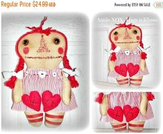 Raggedy Annie Doll Heart Ornies by by FosterChildWhimsy on Etsy