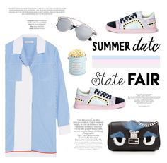 """""""SD #statefair II"""" by riennise ❤ liked on Polyvore featuring Carven, Sophia Webster, Fendi, The Hampton Popcorn Company and summerdate"""