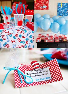 Playful Cat in the Hat First Birthday {Dr. Seuss Theme} // Hostess with the Mostess® Boys First Birthday Party Ideas, Dr Seuss Birthday Party, Twin Birthday Parties, First Birthday Decorations, Twin First Birthday, Dr. Seuss, Cat In The Hat Party, Dr Seuss Baby Shower, Free Printable Birthday Invitations