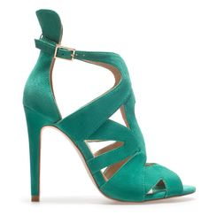 Zara teal green suede sandals - I like the raised heel design detail
