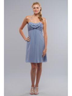 Cute Stylish Chiffon Blue Spaghetti Halter Short Bridesmaid Dress
