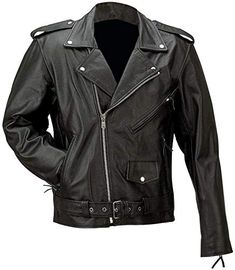 Mens Real Leather Jacket Black Heavy Duty Full Grain Zip Box Classic Collar Coat