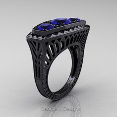 Art Deco 14K Black Gold Three Stone 2.0 Ct Blue Sapphire Engagement Ring R368-14KBGBS by George K Designs
