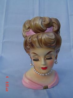VINTAGE  LADY HEAD VASE PLANTER - Would like to have this one in my collection! ~mary~