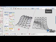 This Sketchup tutorial is about surface modeling, curved surface, texture curved surface, smooth with basic pro skill, check it out! Sketch Up Architecture, Roof Architecture, Truss Structure, Steel Structure, Space Truss, Surface Modeling, Sketchup Model, Roof Trusses, Organic Form