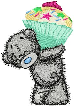 Teddy bear cupcake machine embroidery design. Machine embroidery design. www.embroideres.com