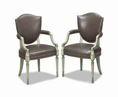 A set of eight green and white-painted leather upholstered open armchairs