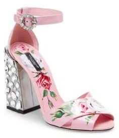 bbec837f370d Dolce   Gabbana Floral-Print Block Heel Sandals