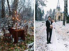 Зимняя свадьба: тёплое и уютное оформление, декор места для фотосессии, фотосессия жениха и невесты
