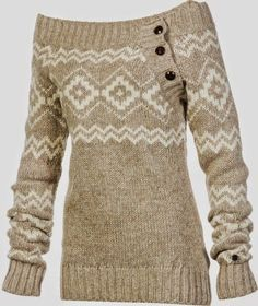 Wide Neck Side Button Sweater #warmth #winter