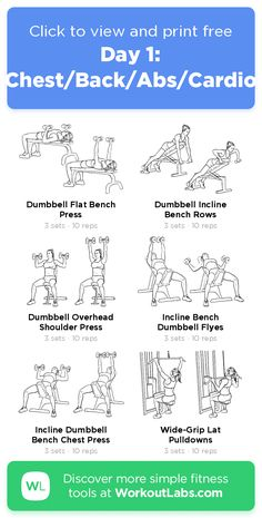 Day 1: Chest/Back/Abs/Cardio – click to view and print this illustrated exercise plan created with #WorkoutLabsFit #musclehunks