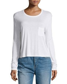 T BY ALEXANDER WANG Classic Cropped Long-Sleeve Tee, White. #tbyalexanderwang #cloth #