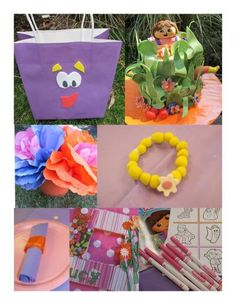 "dora party ideas.... like the purple ""backpack"" favor bag and the bracelets"