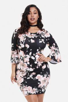 ca6599b6444 Plus Size Bell Sleeve Bodycon Dress Plus Size Bodycon Dresses