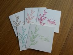 "Stampin up simply sketched with 2013-15 in colours - set of 3"" x 3"" notelets."
