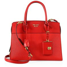Prada Esplanade Medium Leather Tote (7.850 BRL) ❤ liked on Polyvore featuring bags, handbags, tote bags, red tote bag, prada tote, prada tote bag, leather purses and genuine leather tote