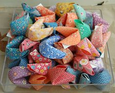 10 Fabric Origami Fortune Cookies reserved for by wendysorigami Origami Fortune Cookie, Fabric Origami, Craft Fairs, Homemade Gifts, Crafts To Sell, Projects To Try, Cookies, Things To Sell, Amanda