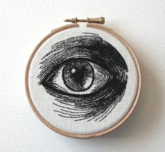 Hand Embroidered Eye Illustrations by Sam P. Gibson ~ Embroidery artist and jeweler Sam P. Gibson creates a wide variety of hand-stitched illustrations from brains and skulls to lips and typography. Her most detailed works are these awesome stitched eyes. Portrait Embroidery, Paper Embroidery, Cross Stitch Embroidery, Embroidery Patterns, Realistic Eye Drawing, Drawing Tips, Eye Illustration, Eyes Artwork, Colossal Art