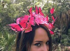 Secret Garden - Monarch Butterfly EDM Festival Headband, Butterfly Crown, Festival hair decor, Boho headband, Butterfly Fascinator, Hot Pink - Bridal hair accessories (*Amazon Partner-Link)