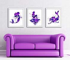 Mermaid print set, Mermaid set, Mermaid watercolor print, Ariel print, Disney Ariel, Disney Little Mermaid, Mermaid art, purple mermaid set by FluidDiamondArt on Etsy https://www.etsy.com/listing/214619326/mermaid-print-set-mermaid-set-mermaid