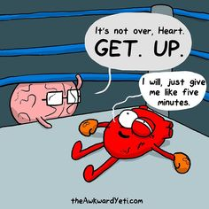 The Awkward Yeti comics give me five minutes. [heart and brain] Akward Yeti, The Awkward Yeti, Funny Quotes, Funny Memes, Jokes, Heart And Brain Comic, Funny Webcomics, Back In The Game, Online Comics